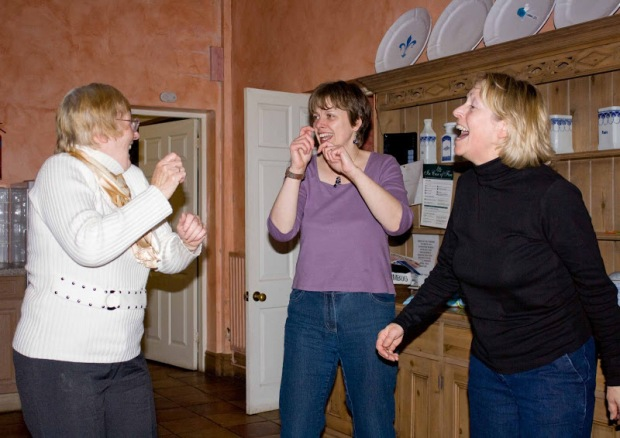 Angeline, Julie and Sue dancing